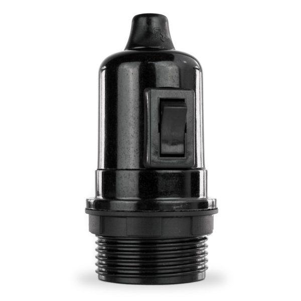 Lampenfassung Teil-Gewindemantel E27 Bakelit schwarz mit Schalter und Klemmnippel