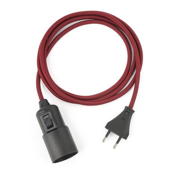 Textilkabel Pendellampe Bordeaux-Rot, Textilkabel mit Lampenfassung aus Thermoplast mit Schalter und Eurostecker