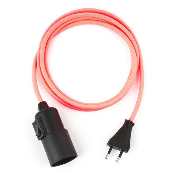 Textilkabel Pendellampe Fuchsia-Pink, Textilkabel mit Lampenfassung aus Thermoplast mit Schalter und Eurostecker