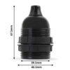 retro lampenfassung e27 dimensionen abmessungen bakelit kunststoff schwarz gewindemantel zugentlastung