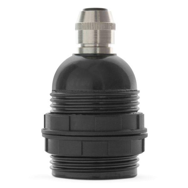 retro lampenfassung e27 bakelit kunststoff schwarz gewindemantel zugentlastung messing nickel