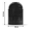 retro lampenfassung e27 dimensionen abmessungen bakelit kunststoff schwarz glattmantel