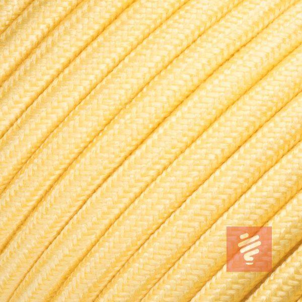 textilkabel stoffkabel schlauchleitung stoffummantelt textilummantelt pvc-kabel rundkabel h03vv-f 3g 0.75 3x0.75mm 3-adrig dreiadrig gelb