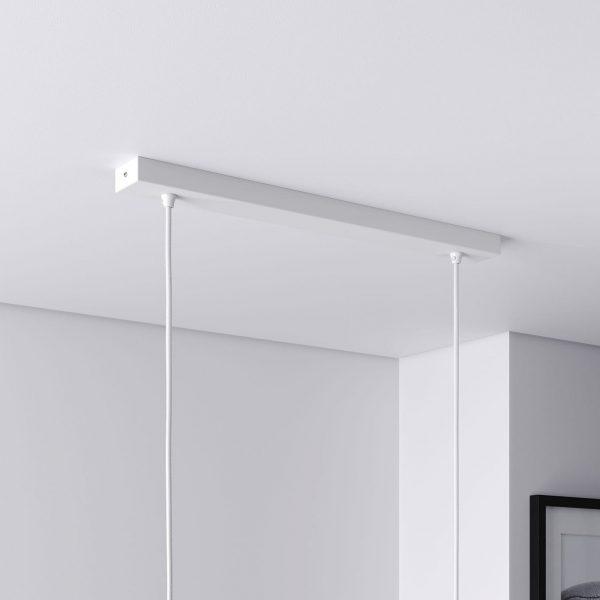 Baldachin lang für Lampe Rechteckig, Abzweigdose mit 2 Kabelauslässen - Weiß ideal für Esstisch