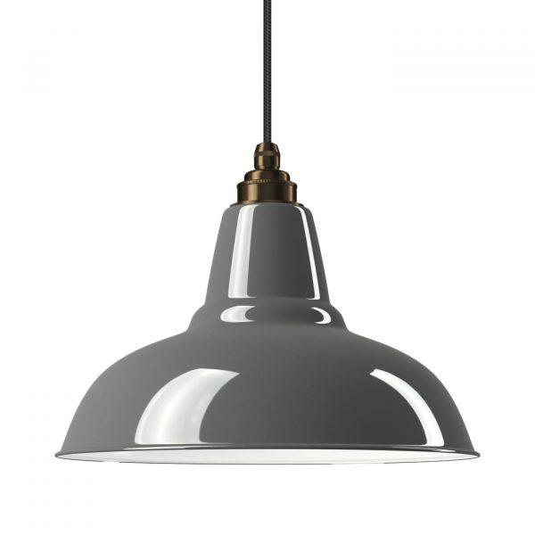 Industrielampe Vintage Relight Newton Grau mit Textilkabel Schwarz und Fassung Old English