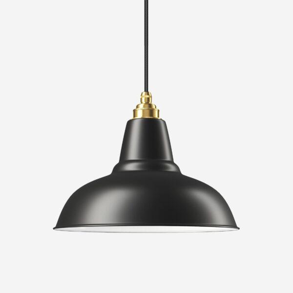 Industrielampe Vintage Relight Newton Matt-Schwarz mit Textilkabel Schwarz und Fassung Messing
