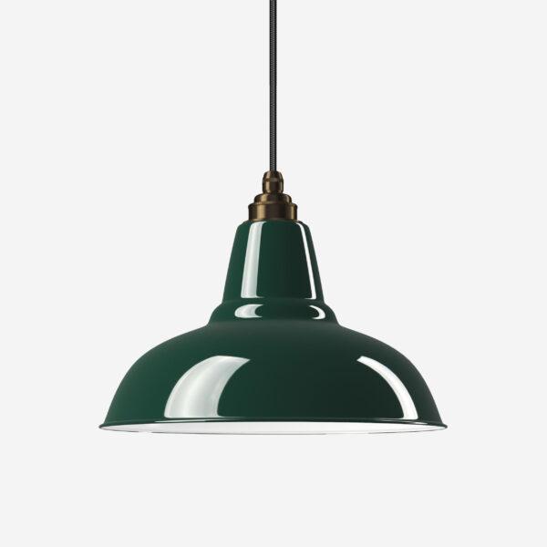 Industrielampe Vintage Relight Newton Moosgrün mit Textilkabel Schwarz und Fassung Old English