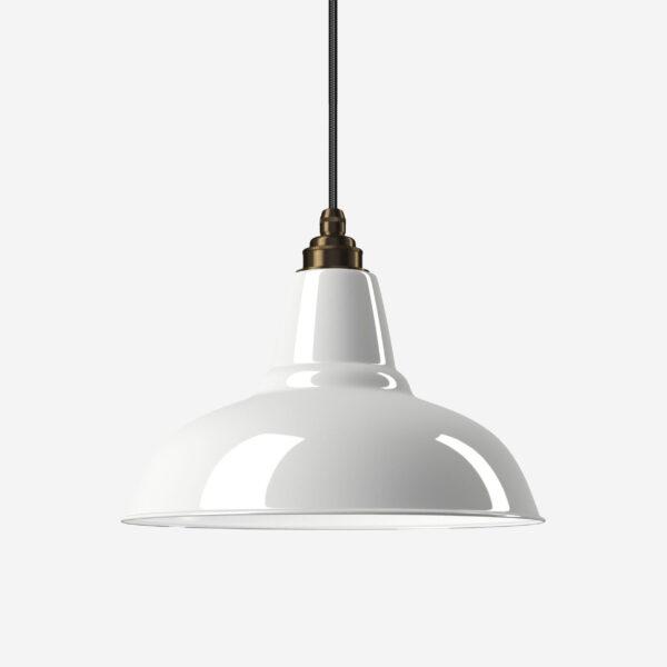 Industrielampe Vintage Relight Newton Weiß mit Textilkabel Schwarz und Fassung Old English