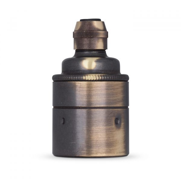 Lampenfassung E27 Vintage Messing braun gebeizt für Elektrokabel oder Textilkabel