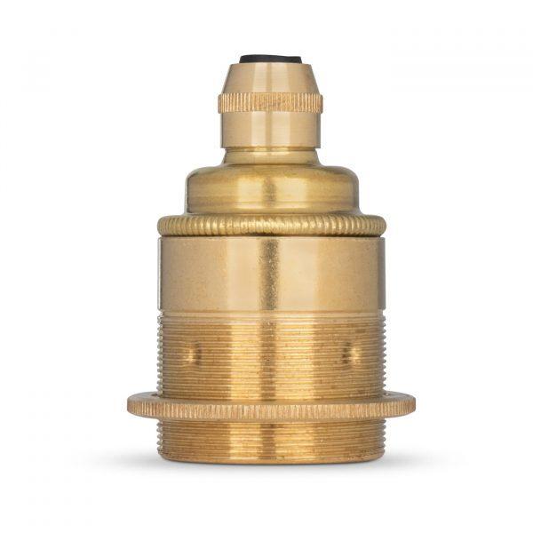 Lampenfassung E27 Vintage Messing gold inkl. 1 Gegenring für Elektrokabel oder Textilkabel