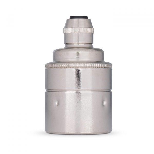 Lampenfassung E27 Vintage Messing nickel chrom für Elektrokabel oder Textilkabel