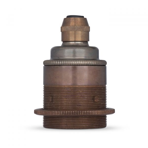 Lampenfassung E27 Vintage Messing Old English inkl. 1 Gegenring für Elektrokabel oder Textilkabel