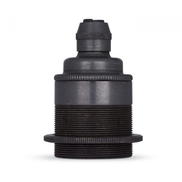 Lampenfassung E27 Vintage Messing schwarz brüniert inkl. 1 Gegenring für Elektrokabel oder Textilkabel