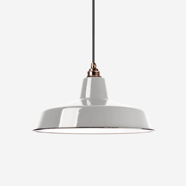 Vintage Industrieleuchte mit Lampenschirm aus emailliertem Stahlblech Light Grey mit Textilkabel Schwarz und Fassung Old English