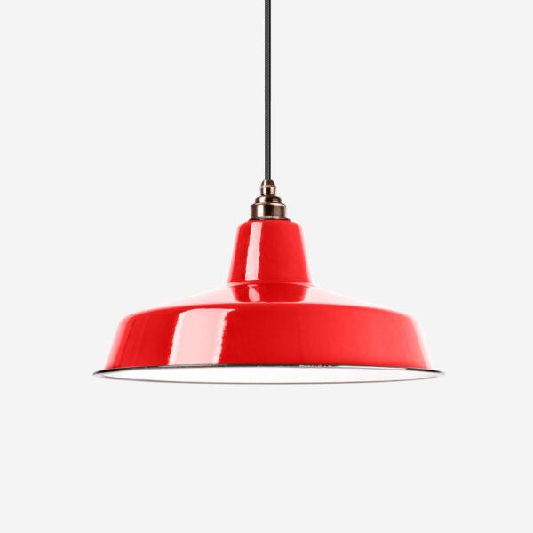 Vintage Industrieleuchte mit Lampenschirm aus emailliertem Stahlblech Rot mit Textilkabel Schwarz und Fassung Old English