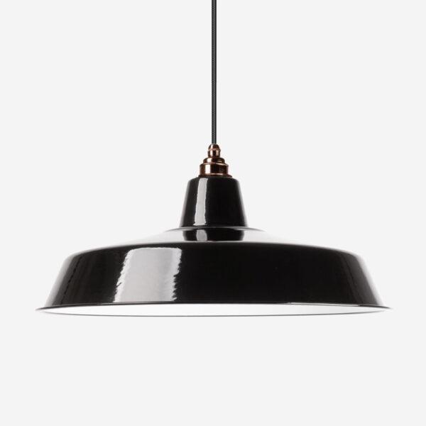 Vintage Industrieleuchte mit Lampenschirm aus emailliertem Stahlblech Schwarz 46cm mit Textilkabel Schwarz und Fassung Old English
