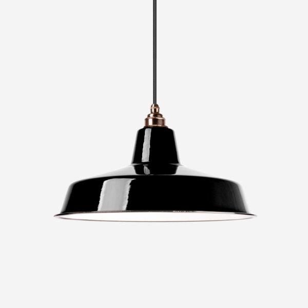 Vintage Industrieleuchte mit Lampenschirm aus emailliertem Stahlblech Schwarz mit Textilkabel Schwarz und Fassung Old English