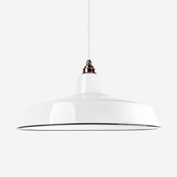 Vintage Industrieleuchte mit Lampenschirm aus emailliertem Stahlblech Weiß 46cm mit Textilkabel Weiß und Fassung Old English