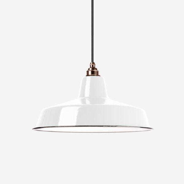 Vintage Industrieleuchte mit Lampenschirm aus emailliertem Stahlblech Weiß mit Textilkabel Schwarz und Fassung Old English