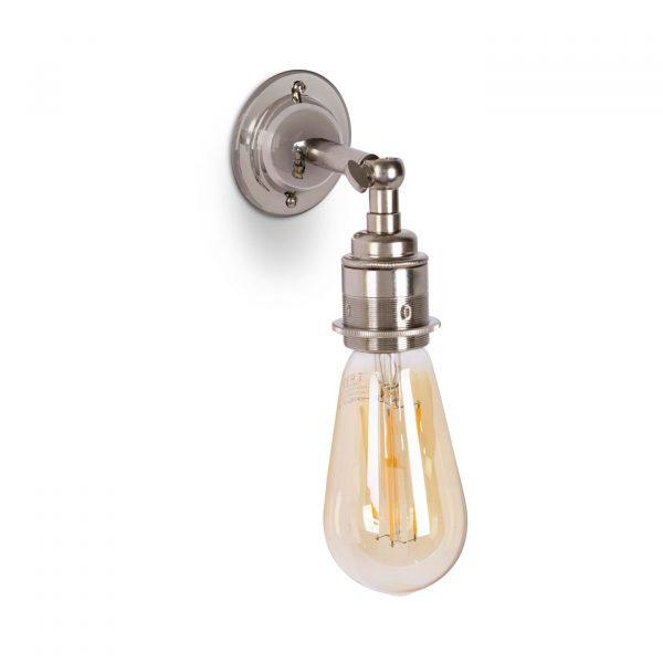 Wandleuchte aus Messing Nickel Finish im Antik & Vintage Stil E27 mit Gelenk und ST64 LED Leuchtmittel, Relight Bacon Bow