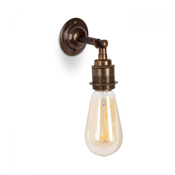 Wandleuchte aus Messing Old English im Antik & Vintage Stil E27 mit Gelenk und ST64 LED Leuchtmittel, Relight Bacon Bow